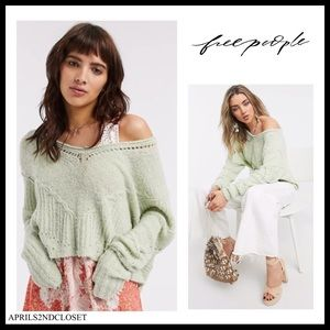 FREE PEOPLE BOHO LUXE KNIT V-NECK SWEATER A2C